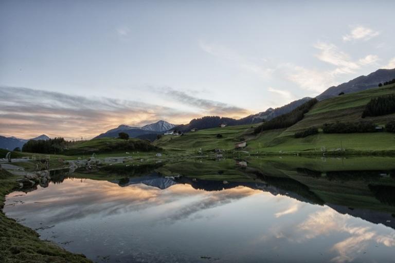 Serfaus Fiss Ladis Wolfsee bei Sonnenuntergang